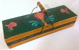 Large Vintage Rosemaling Handmade Wooden Box W Leather Heart Hinged Double Lid