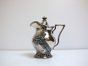 Art Nouveau Exquisite Syrup Pitcher Silver Plate Covred Honey Jug