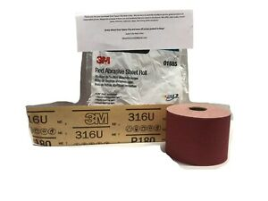 3m 180 Grit Red Stick It Sandpaper Continuous Sheet Roll Longboard Block 1685