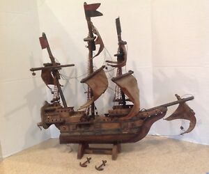19th Century Antique Mayflower Wooden Ship Model