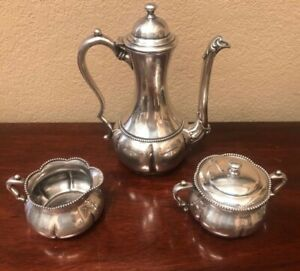 Classic Warner Silver Plated 3 Piece Coffee Set In Excellent Condition Quad P