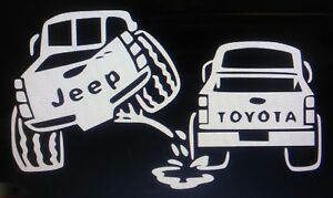 Jeep Peeing On Toyota Sticker Vinyl Decal Car Truck Window