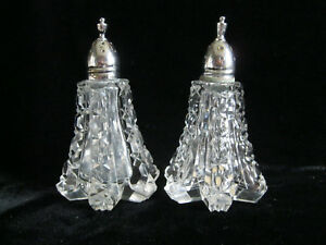 Vintage Clear Crystal Cut Glass Salt Pepper Shakers 3 3 4 T X 2 1 4 Hex