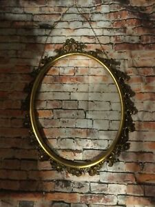 Vintage Shabby Picture Frame Oval Metal Ornate Large Without Glass 24 X 19