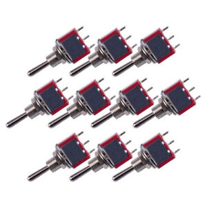 10pcs Red 3 Pin 3 Position On off on Spdt Micro Mini Momentary Toggle Switch Ac