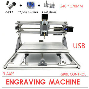 Mini 3 Axis 2417 60w Cnc Engraver Machine Milling Router Wood Carving Marking Us