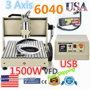 Usb 3 Axis 1500w 6040 Cnc Router Engraver Machine 3d Cutter Handle Control Usa