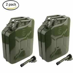 2x Jerry Can 5 Gallon 20l Gas Gasoline Fuel Army Nato Metal Steel Tank Holder Vp