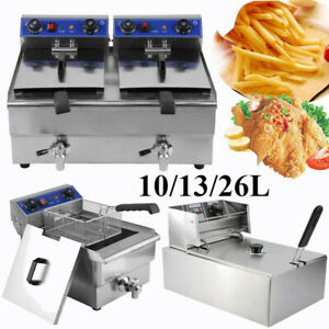 Electric Countertop Deep Fryer Tank Commercial Restaurant Steel W Nozzle Br