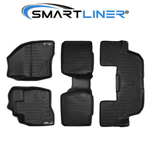 Smartliner All Weather 2017 2019 Ford Explorer Floor Mats Liner 3 Row Set Black