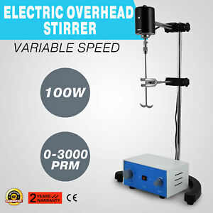 Lab Electric Overhead Stirrer Mixer Variable Speed New 100w 110v