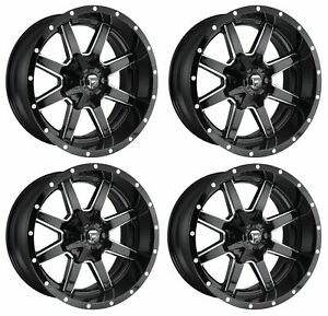 Set 4 22 Fuel Maverick D610 Black Milled Wheels 22x12 8x170 44mm Lifted Truck