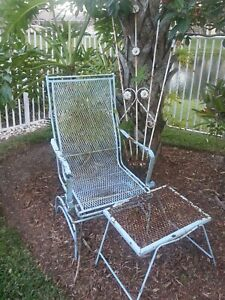 Reduced Vintage 2 Piece Wrought Iron Garden Rocking Chair Side Table Set
