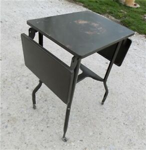 Typewriter Table Industrial Age Stand Metal Office Desk Mid Century Vintage X