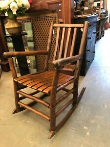 Martinsville Style Vintage Hickory Cabin Porch Rocking Chair 2 Available