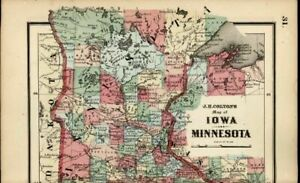 Minnesota Iowa Minneapolis Des Moines 1865 Colton Scarce Miniature Antique Map