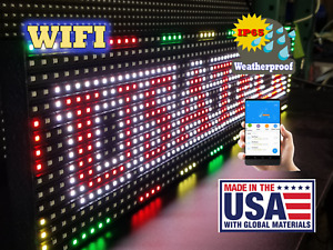 Full Color 38 x6 5 Led Sign Wifi outdoor indoor made Ship From Usa