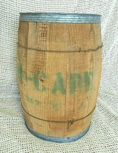 Vtg Metal Wire Galvanize Band Wooden Nail Keg Barrel Rustic Country Home Decor