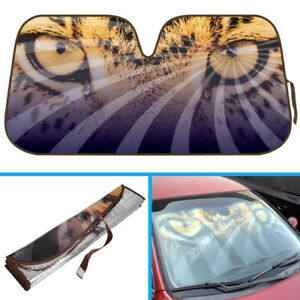Leopard Eye Auto Sun Shade Front Windshield Car Truck Suv Window Cover Uv Block