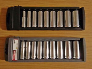 Craftsman 18 Pc Inch Metric Deep Socket Tool Set 3 8 Drive 12 Point New