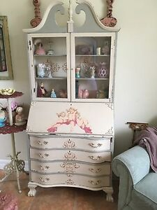 Vntg Secretary Drop Front Bookcase Desk Painted Cherubs Shabby Chic Mail Slots
