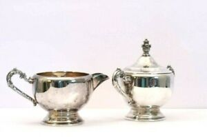 Footed Silverplate Cream And Sugar Bowl