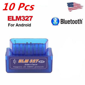10pcs Mini Elm327 V2 1 Obd2 Obdii Bluetooth Adapter Auto Scanner Torque Android