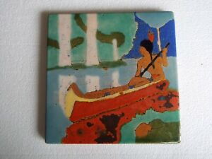 Large Size San Jose Mission Art Pottery Tile Indian Canoe Arts Crafts 8x8 In