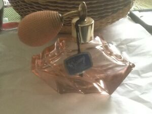 Vintage Perfume Bottle With Atomizer Rose Pink Glass Made In Austria