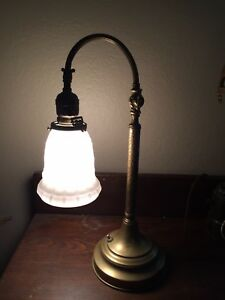 Antique Adjustable Goose Neck Piano Student Desk Lamp White Milk Glass Shade