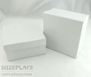 2 White Swirl Gift Boxes Cotton Fill 3 3 4 X 3 3 4 X 2 Necklace Earring Jewelry