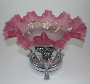 Victorian Pink Cranberry Hp Cherry Blossoms Art Glass Brides Basket With Stand