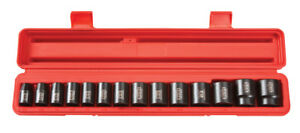 15 Pc 1 2 Drive Shallow Impact Socket Set Sae 6 Pt