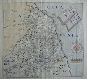 Northumberland Antique Map By Saxton Hole 1637