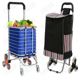 Canvas Waterproof Shopping Cart Fold Grocery Laundry Utility Trolly Handcart L
