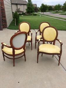 French Louis Xv Style Carved Fauteuils Arm Chairs Leather 4 Chairs