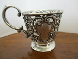 Reticulated Repousse Sterling Silver Demitasse Cup No Liner 28 Grams Violets Wow