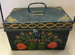 Vintage Tole Metal Box Toleware Handpainted Signed Mildred Bosman Dated 1966