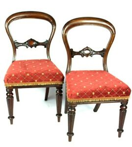 A Pair Of Antique Mahogany Balloon Back Chairs Free Shipping 5136