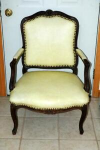 Antique Cream Leather Wood Walnut Louis Style Arm Chair
