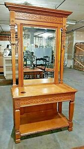 Antique Solid Oak Entryway Hall Tree With Table Mirror Drawer Coat Rack