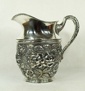 American Stieff Baltimore Sterling Silver Floral Repousse Decorated Pitcher
