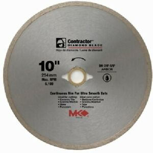 Mk Diamond 167031 10 Contractor Continuous Rim Wet Cutting Tile Saw Blade