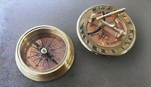 Vintage Brass Compass Sundial Moby Dick Specialties