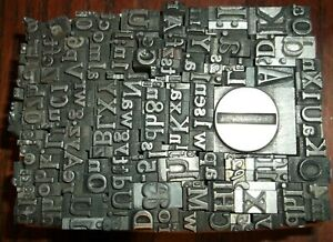 No 107 Vintage Lot Of 200 Pieces Letterpress Printers Lead Type Letters Numbers