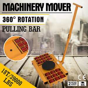 18t Machinery Mover Roller Dolly Skate Heavy Equipment Durable Pu Wheels