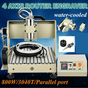 4 Axis 3040 Cnc Router Engraver Parallel Engraving Milling Cut Machine 800w Vfd