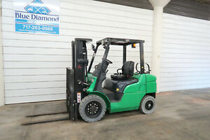 2012 Mitsubishi 5 000 Pneumatic Tire Forklift 3 Stage 4 Way Hyd 1 800 Hours