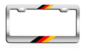 German Flag Chrome License Plate Frame Top Bottom Tag Holder Auto Car Parts Top