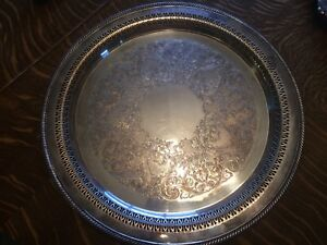 Vintage Wm Rogers Silver Plate Serving Tray Platter Aprox15 Inch Round 162